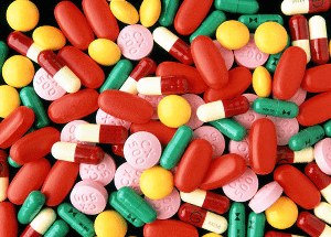 Assortment of oral antibiotic tablets and capsules
