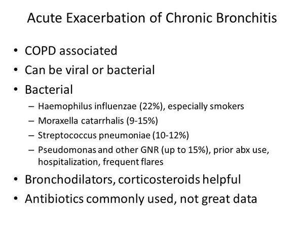 exacerbations of chronic bronchitis