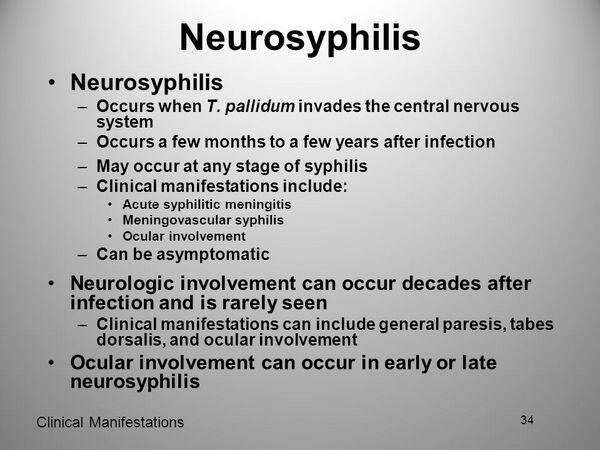 Tertiary Syphilis and Neurosyphilis